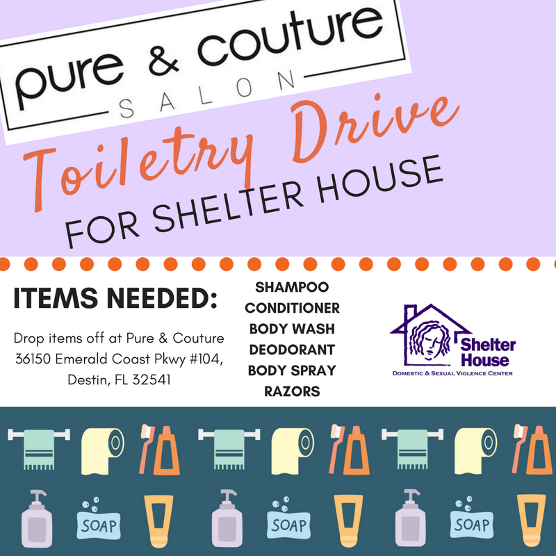 Pure couture salon in destin hosts toiletry drive for for Mitchell s fish market destin
